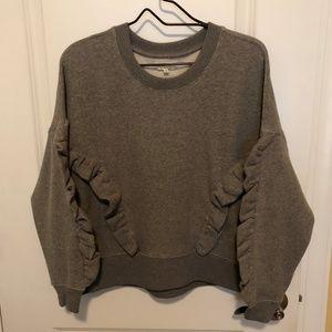 Mile(s) by Madewell Gray Ruffle Sweatshirt -Size:S